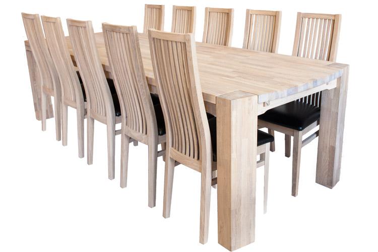 Langbord i egetræ - hvidolieret eller sæbebehandlet 100 x 250cm