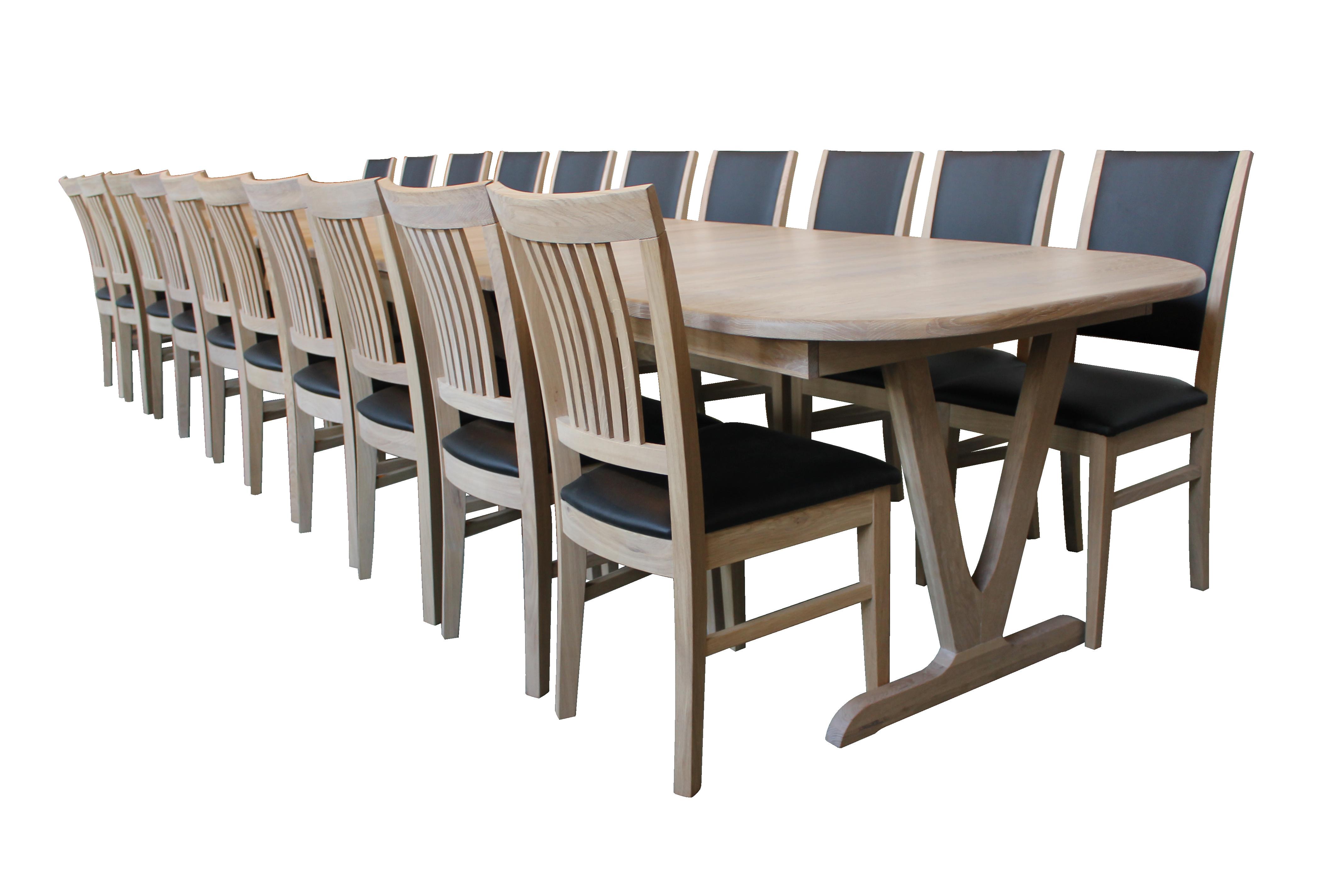 Egetræs udtræksbord 105x200cm med 6 tillægsplader á 50cm = 105x500cm